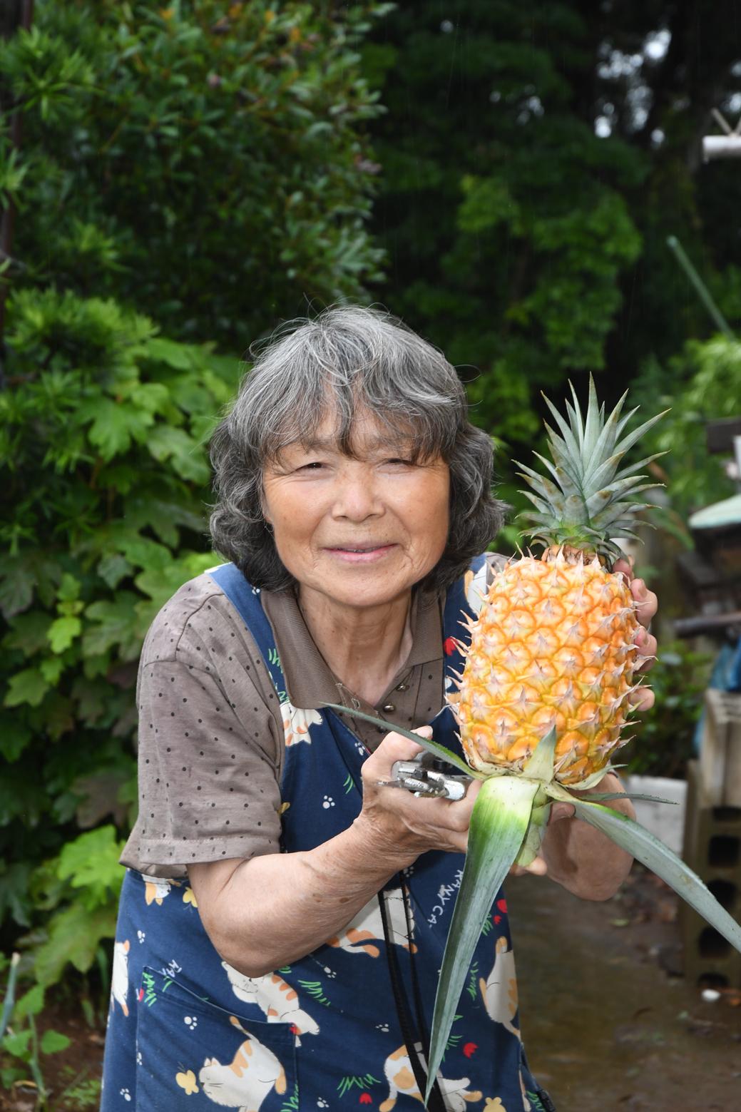 収穫したパイナップルと、永峰さん