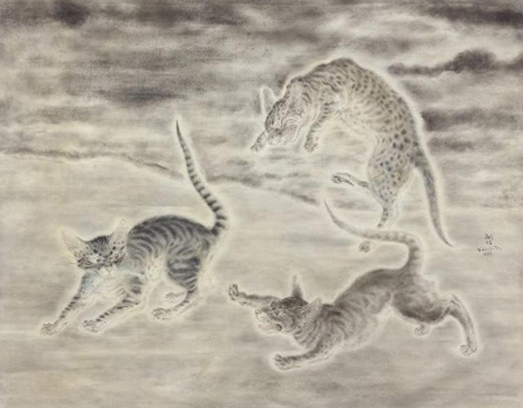 藤田嗣治《猫三匹》1932年 個人蔵  Fondation Foujita / ADAGP, Paris & JASPAR, Tokyo, 2020 G2252