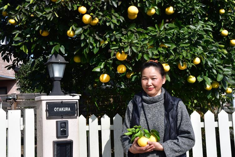 小田倉さんと、実ったグレープフルーツ