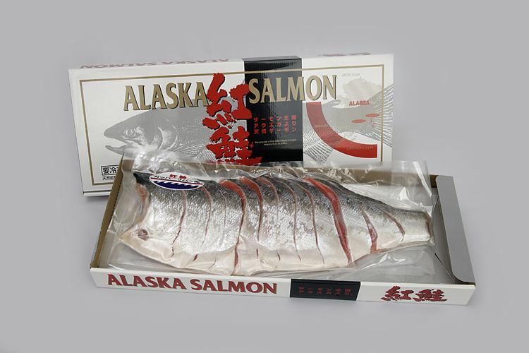 アラスカ産紅鮭姿切三分割