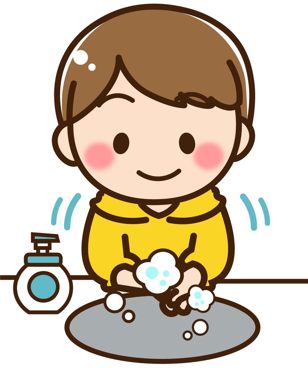 手洗い中の子どものイラスト