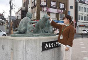 石岡駅の感動物語撮影中 映画になるタロー