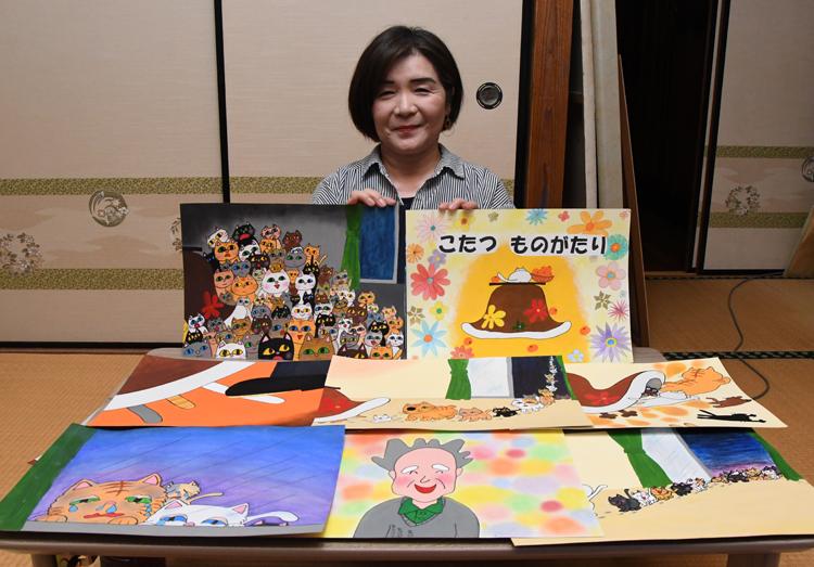 制作した紙芝居と、藤枝さん